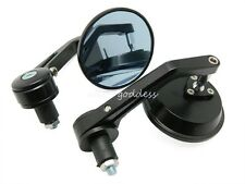 "Black MOTORCYCLE 3"" Round 7/8"" HANDLE BAR END MIRRORS For Cafe Racer Bobber BMW"