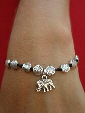 Tibetan Silver Elephant Charm Friendship Bracelet - Adjustable