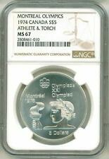 1974 S$5 Canada Montreal Olympics Athlete & Torch NGC MS67