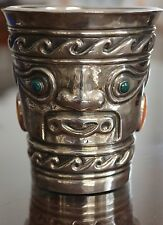 Aztec Mayan Silver 950 Goblet Set With Jade Eyes and Cabouchons, BEAUTIFUL