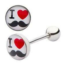 "Tongue Ring Logo I Love Mustache 14 Gauge 5/8"" Steel Barbell Body Jewelry"