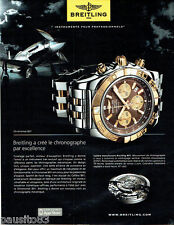 PUBLICITE ADVERTISING 076  2010  Breitling  montre  chronomat B01