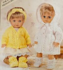 "Baby Dolls Knitting Pattern Cardigan Coat Bootees Headband 12-22"" Tall PD2510"