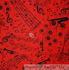 BonEful FABRIC FQ Cotton Quilt Red Black MUSIC NOTE Band Jazz French Horn Piano