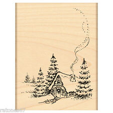 New Penny Black CHRISTMAS COTTAGE Wood Rubber Stamp Pine Tree Chimney Winter