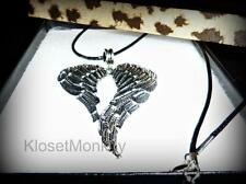 SEXY SILVER TWISTED ANGEL WING PENDANT NECKLACE BLACK CORD CHOKER GEMMA