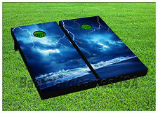 VINYL WRAPS Thunderstorm Cornhole Boards DECALS Bag Toss Game Stickers 749