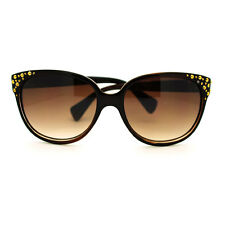 Gold Studded High Point Oversized Cat Eye Sunglasses - Brown