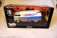 HOT WHEELS 1/18 CUSTOMIZED VW VOLKSWAGEN DRAG BUS - WHITE & BLUE w/FLAMES MIB