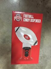 THE OHIO STATE UNIVERSITY RED CLEAR PLASTIC FOOTBALL CANDY DISPENSER OFFICE DESK