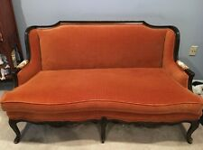 (2) Matching Pair Vintage Hand-Carved Cherry Country French Style Settee Sofas