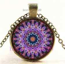 Vintage Purple Lotus Kaleidoscope Cabochon Glass Bronze Pendant Necklace
