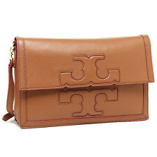 NWT $450 TORY BURCH JESSICA SQUARE MESSENGER LUGGAGE TAN LEATHER BAG CLUTCH