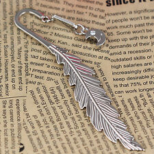 Polished Chrome Letter Opener Alloy Feather Smile Moon Bookmark Book Mark 87004