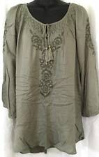 Style & Co Blouse Top Size Large Green Tunic Womens Rayon 5967