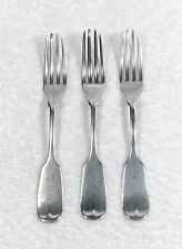 Antique J Conning Mobile Coin Silver 3 Dinner Forks - Monogrammed - RARE