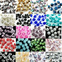 Wholesale Lots 100pcs Colors Glass Crystal Faceted Bicone Loose Spacer Beads 4mm