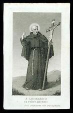 santino incisione 1800 S.LEONARDO DA PORTO MAURIZIO