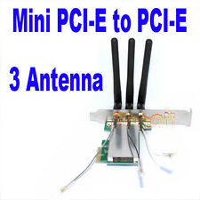 Mini PCI-E to PCI-E Express X1 Wireless WIFI adapter card with 3 Antennas New HW