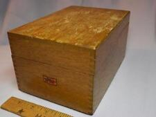 """vtg Weis wood file box big oak hinged lid wooden recipe library index 3""""x5"""" card"""