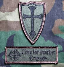 INFIDEL CROSS CRUSADER USA ARMY US MILITARY FOREST HOOK MORALE 2 PATCH SET