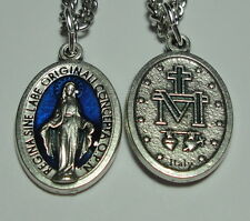 "Blue Enameled Miraculous Medal on 24"" Stainless Steel Chain w/ Prayer in Latin"