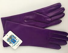 NWT Auth Portolano Bright Purple Leather Cashmere Lined Gloves SZ 7.5