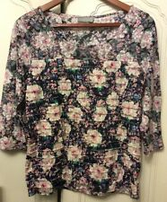 Ladies M&S per una floral top stretch Frill Front Size12-14 New