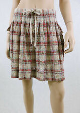 NWT MAX STUDIO Plaid Mini Skirt Crinkled Cotton Patch Pockets Multi-Color M