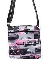 "CROSS OVERBODY BAG  ""PINK CADILLAC CAR "" PATTERN SHOULDER BAG PURSE, NEW"