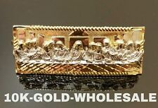 MENS 10K YELLOW GOLD LAST SUPPER THREE FINGERS HIP HOP STYLE RING
