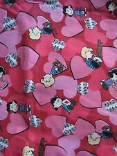 1 YARD 2004 PEANUTS GANG SNOOPY TOSSD HEARTS W/MUSIC COTTON FABRIC (RED)