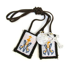 Scapular Child Brown Cord Lady Carmel Brown Scapular 100% Wool & Medals Catholic