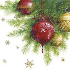 Natale 20 Carta Pranzo Tovaglioli palla di vetro con cristallo tradizione natalizia/D