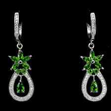 Sterling Silver 925 Genuine Natural Rich Green Chrome Diopside Dangle Earrings