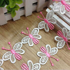 1Yd Butterfly FASHION DECOR Embroidered Flower Applique Lace Trim PINK PURPLE #