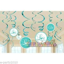 BLUE WEDDING BRIDAL PARTY SWIRL DECORATIONS (12) ~ Engagement Shower Supplies