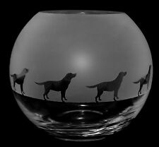 *DOG GIFT*  15cm Boxed CRYSTAL GLASS GLOBE VASE with LABRADOR FRIEZE design