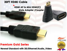 Yellowknife Gold Serie-30FT 1.4 GOLD-PLATED HDMI+HDMI to Mini HDMI F/M Adapter