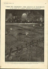 1915 WWI PRINT ~ FLEURBAUX ASSAULT BRITISH TROOPS CHARGE ~ STAR SHELL LIGHT