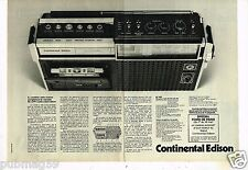 Publicité advertising 1976 (2 pages) Radio Lecteur cassette Continental Edison