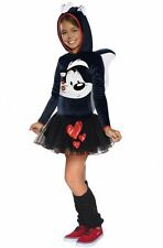 Girls Pepe Le Pew Costume Hoodie Tutu Dress Looney Tunes Child Size Large 12-14