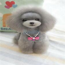 Cute Pet Dog Cat Pendant Necklace Bowknot Beads Bell Collar Neck Lace Pink