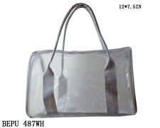 See-Thru Clear Plastic Jelly Plastic Duffle Purse Bag - 487 WH