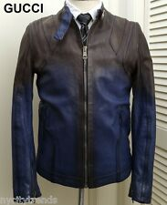 GUCCI leather jacket black blue motorcycle biker cafe racer nr slim fit 40 50 M