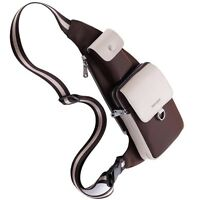 Nylon and Leather Men Money Belt Shoulder Fanny Pack Bicycle Sling Chest Bag
