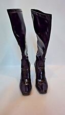 FRANCO SARTO Vinyl Black Heeled Boots Sz 8 1/2 M