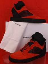 NIB BALENCIAGA RED SUEDE BLACK MESH NEOPRENE STRAP HI TOP SNEAKERS 42 US 9 $795