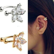 SILVER CZ CRYSTAL FLOWER Ear Clip Ear cuff Earring for Non Pierced ears 1 PC