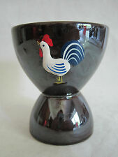 Vintage Redware Rooster Double Egg Cup Hand Painted Embossed